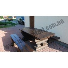 Комплект стол с лавочками со сруба Bogatyr