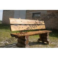 Скамейка с широкой спинкой со сруба Kuzya2