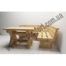 Комплект угловой стол с лавочками со сруба Dobrynia